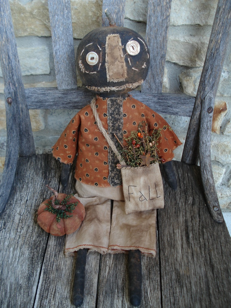 primitive ★ fall ★ pumpkin doll ★ folk art ★ | eBay: Fall Pumpkin, Autumn Primitive, Folk Art, Primitive Fall, Prim Dolls, Pumpkin Dolls, Fall Primitive, Dolls Fall, Primitive Dolls