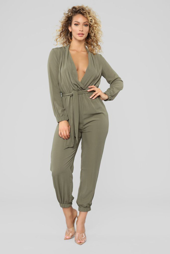 db85101608 Stroll At The Plaza Jumpsuit - Olive