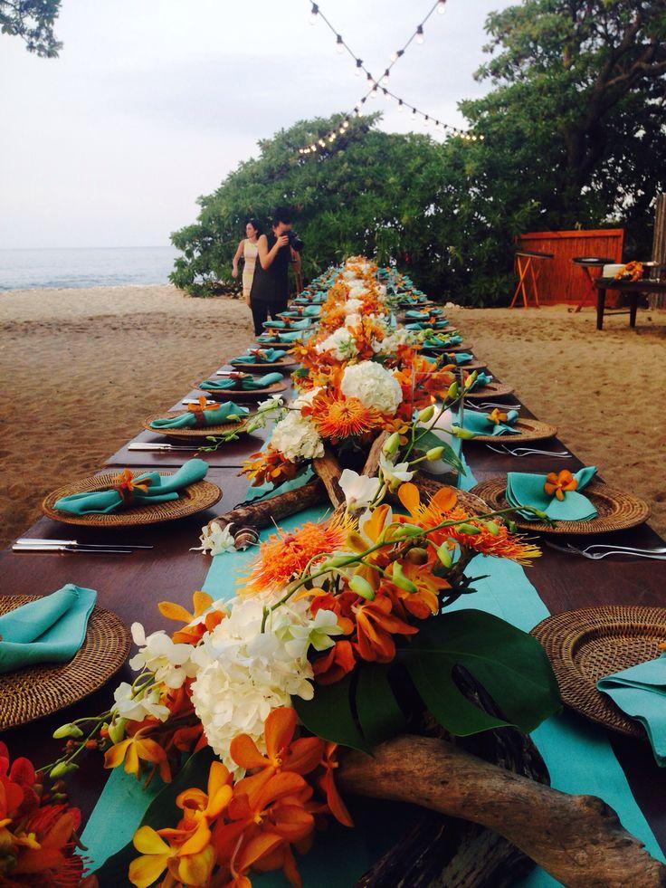 Kate's wedding dinner at Four Seasons Hawaii Hualalai @Mandy Bryant Dewey Seasons Hualalai Weddings New Year's Day 2014 orange and teal wedding