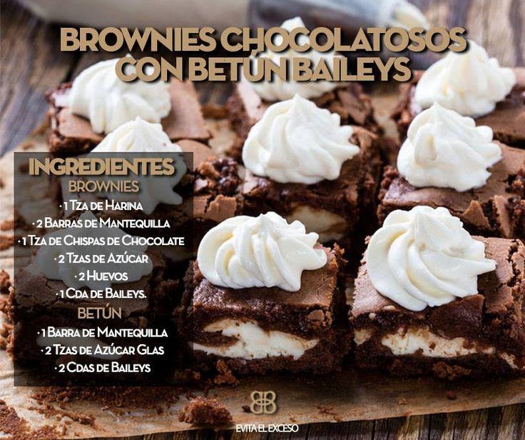 Aprende a cocinar unos Brownies Chocolatosos con Betún de Baileys. Aquí la receta.