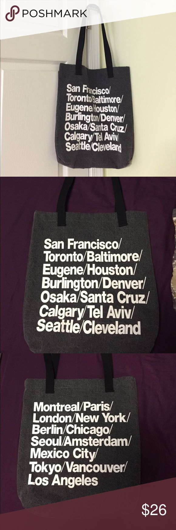 American Apparel tote bag with city names on it Small American apparel tote bag with city makes listed on it American Apparel Bags Totes