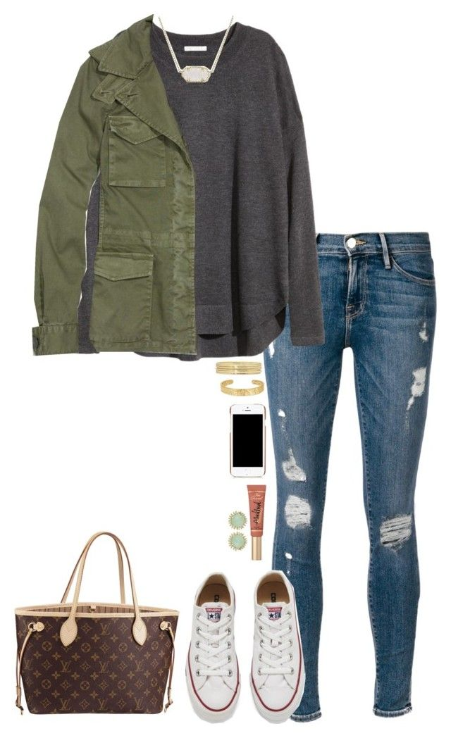"""""""Untitled #811"""" by thatprepsterlibby ❤ liked on Polyvore featuring Frame Denim, H&M, Madewell, Converse, Kendra Scott, Louis Vuitton, Liz Claiborne, Sam Edelman, Moschino and Too Faced Cosmetics"""