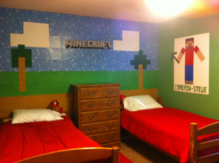 Minecraft room pic2 kids pinterest awesome for Bed decoration minecraft