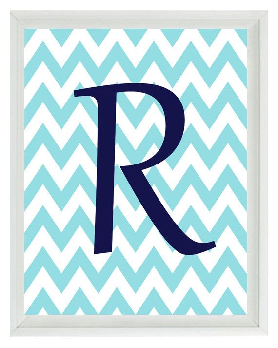 Initial Letter Chevron Art Print -  Nursery Children Kid Room Aqua Navy Blue Personalized  - Wall Art Home Decor 8x10 Print on Etsy, $15.00