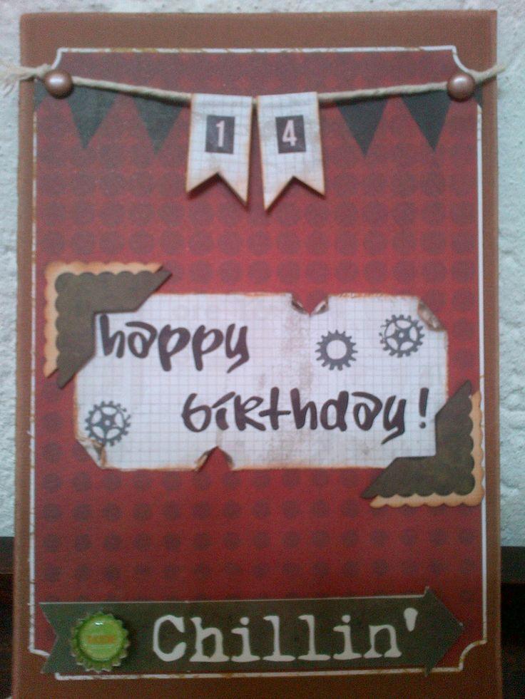 14th Birthday card for my grandson.