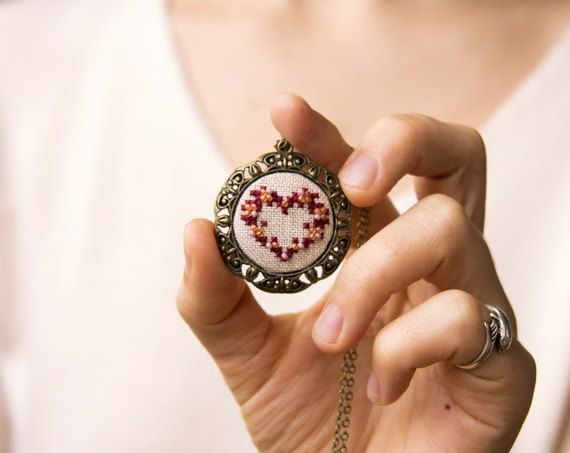 Red heart necklace - hand embroidered necklace - beaded necklace - gift for her - Valentines - vintage style. $22.00, via Etsy.