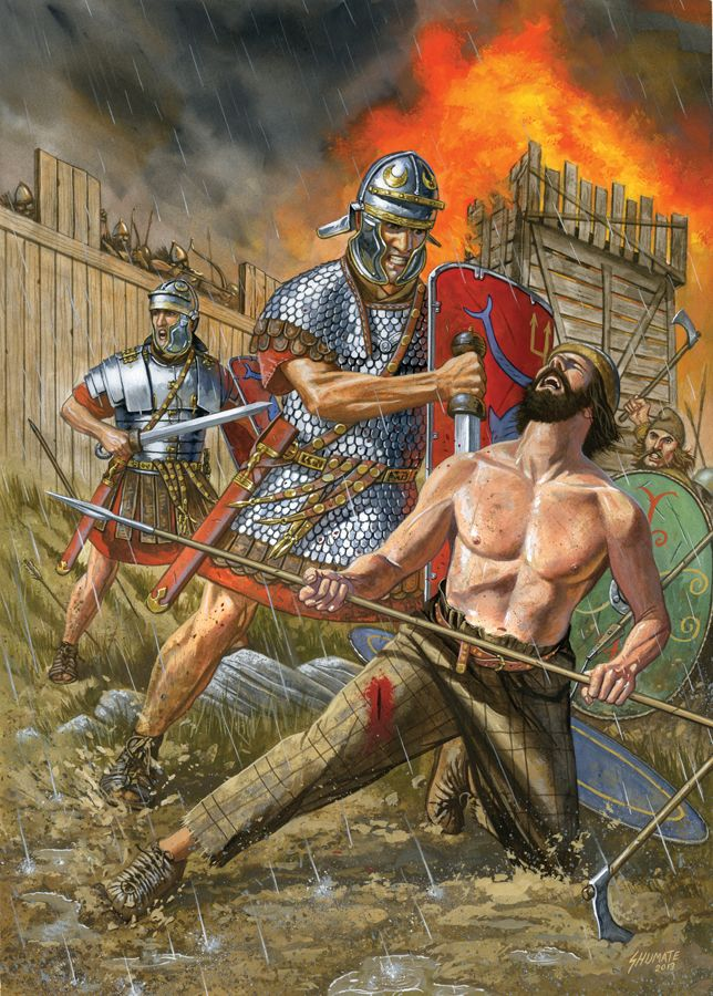 Roman Legionaries fight against Dacian Warriors.