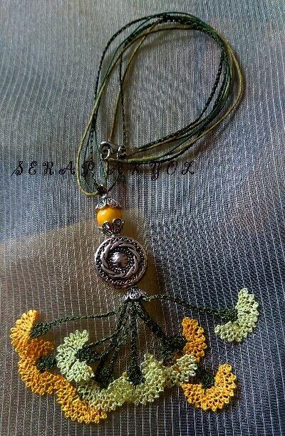 İğne oyası kolye.Turkish Needle Lace