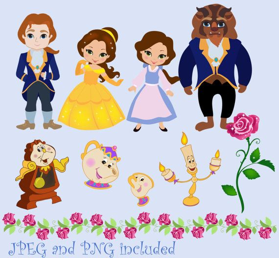 The Beauty Digital Clipart Cute Princess for Card Design, Scrapbooking, Personal and Commercial Use / INSTANT DOWNLOAD 02