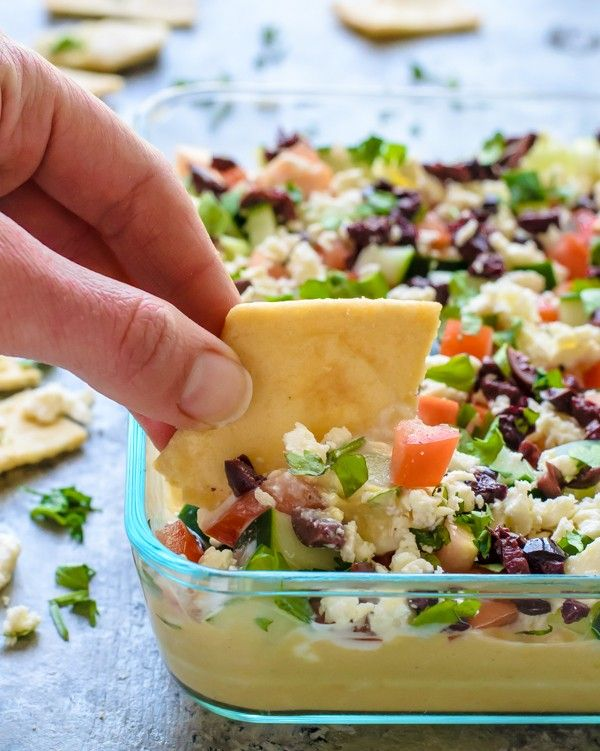 Skinny Greek Layer Dip! Healthy appetizer recipe!