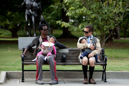 What to Expect When You Are Expecting Photo with Chris Rock and Thomas Lennon - The two new dads hold court on a park bench in this upcoming pregnancy comedy from director Kirk Jones.