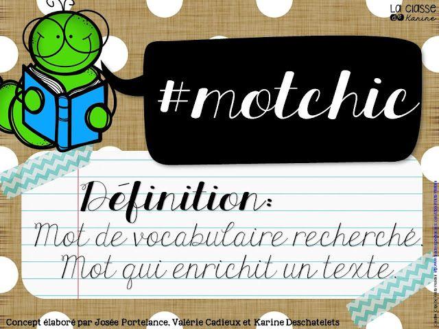 Affiche pour le #motchic - Partage de mots de vocabulaire sur Twitter
