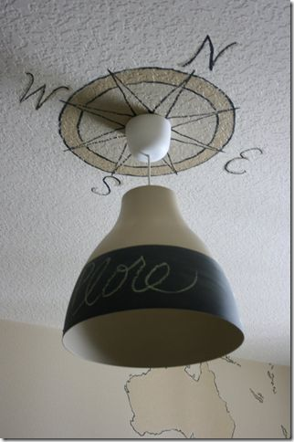 chalkboard paint was added to a simple light pendant from
