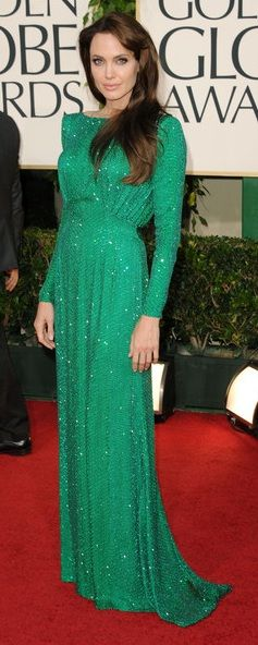 Who made Angelina Jolie's green long sleeve gown, jewelry and shoes that she wore to the Golden Globe Awards on January 16, 2011?