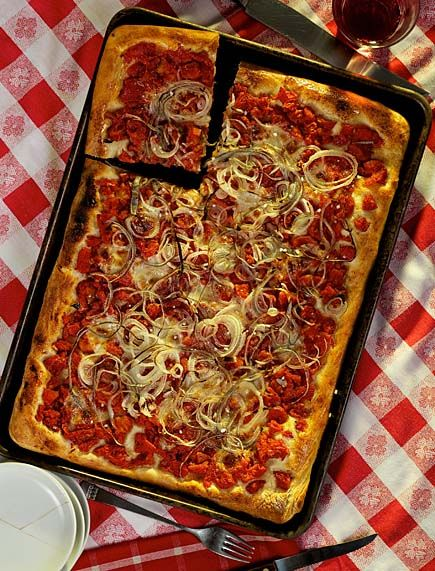 This was one of my fav's to get at the little italian place on Grand--making my own tonight! Secrets of Sicilian Style Pizza Crust