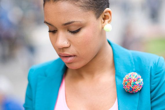 handmade brooch with a multicolored pompom by bimabejbe on Etsy, €8.00