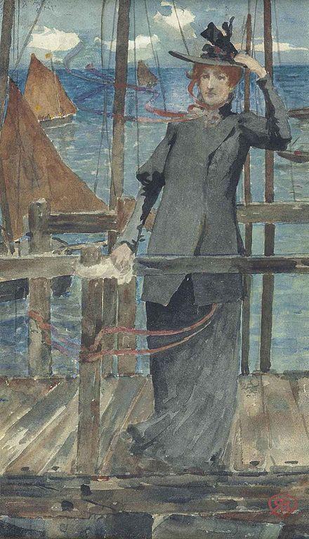 Robert Burns (Scottish , 1869-1941)Waiting for the ferry. Роберт Бернс (шотландский , 1869-1941) Ожидание парома.罗伯特·伯恩斯(苏格兰),1869-1941) 等候渡轮
