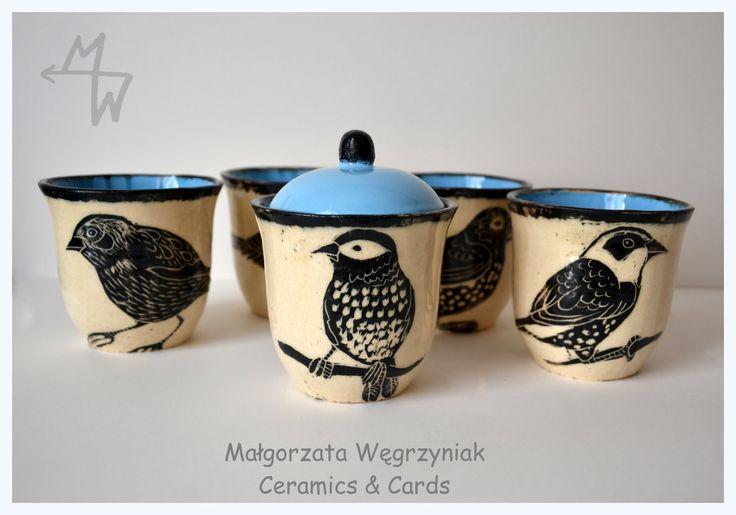 MW Ceramics Małgorzata Wegrzyniak kompotówki #polandandmade #ceramics #pottery #sgraffito #glaze #birds #blue