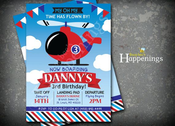 Helicopter Birthday Invitation Flyinh by BusyBeesHappenings