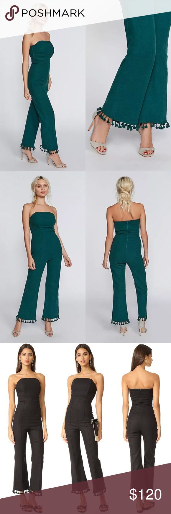 """STONE COLD FOX HOLIDAY NAPLES JUMPSUIT REFORMATION Gorgeous fitted """"Naples"""" jumpsuit from Stone Cold Fox. Fitted bustier style front, tailored waist and hips, semi crop legs with adorable tassels. Makes an amazing vacation piece, but I love this worn formally or paired with a chunky sweater for cooler weather. Color is the gorgeous green in first photos, but fit is shown better in second photos. I am a size 4 and it looks like the model shots on me. Size """"1"""" is best for a US 4, waist 26"""" or…"""