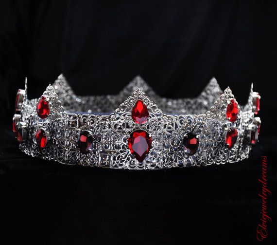 Red crown Red headpiece Crystal crown Red by Elviejewelrydreams