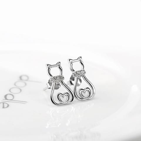 <b>925 Sterling</b> Silver/Crystal Cat Earrings | Cat Earrings