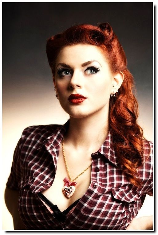 Pin Up hairstyles. I really like this one if I ever get to attend an event where I can wear this!