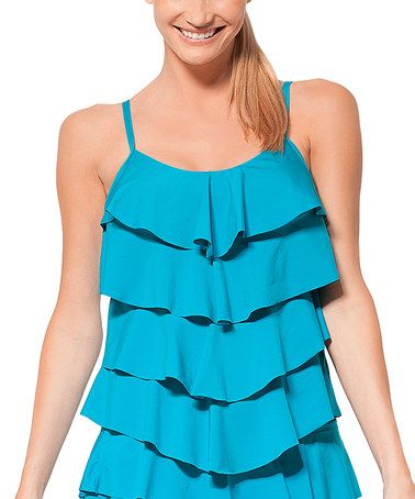 Another great find on #zulily! Peacock Tiered-Ruffle Tankini Top #zulilyfinds
