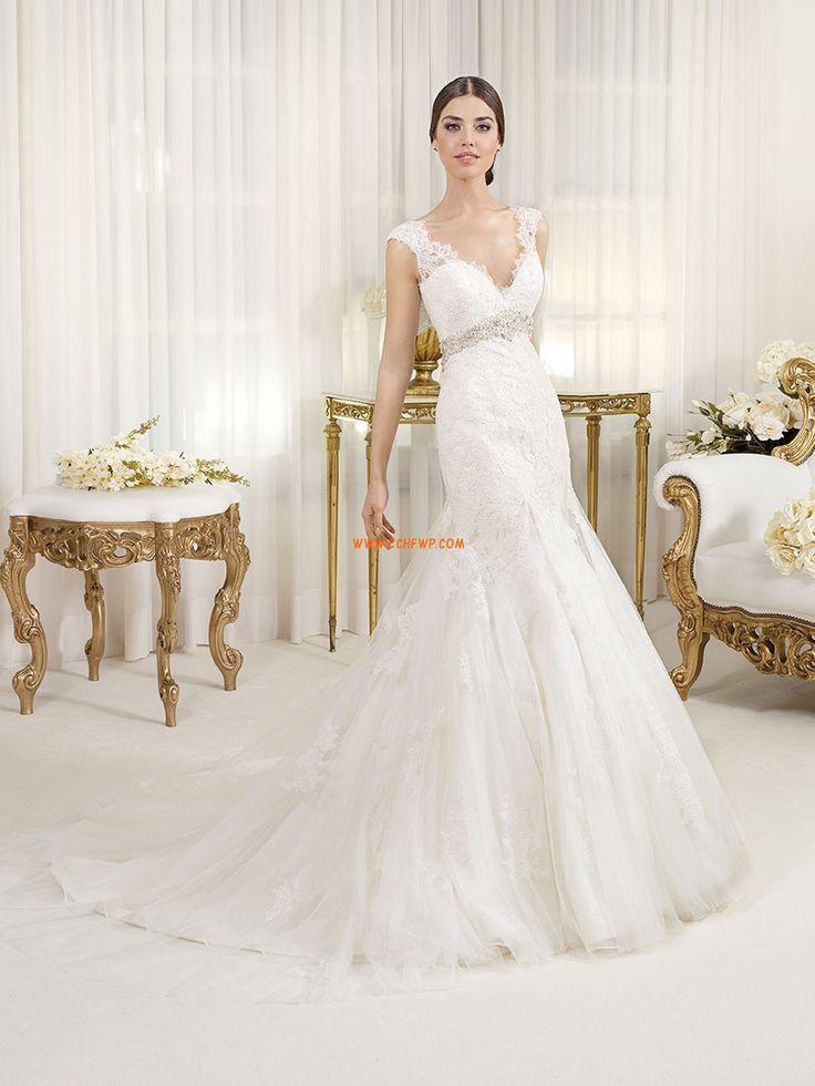 Corte Sirena Escote en V Encaje Vestidos de novias 2014