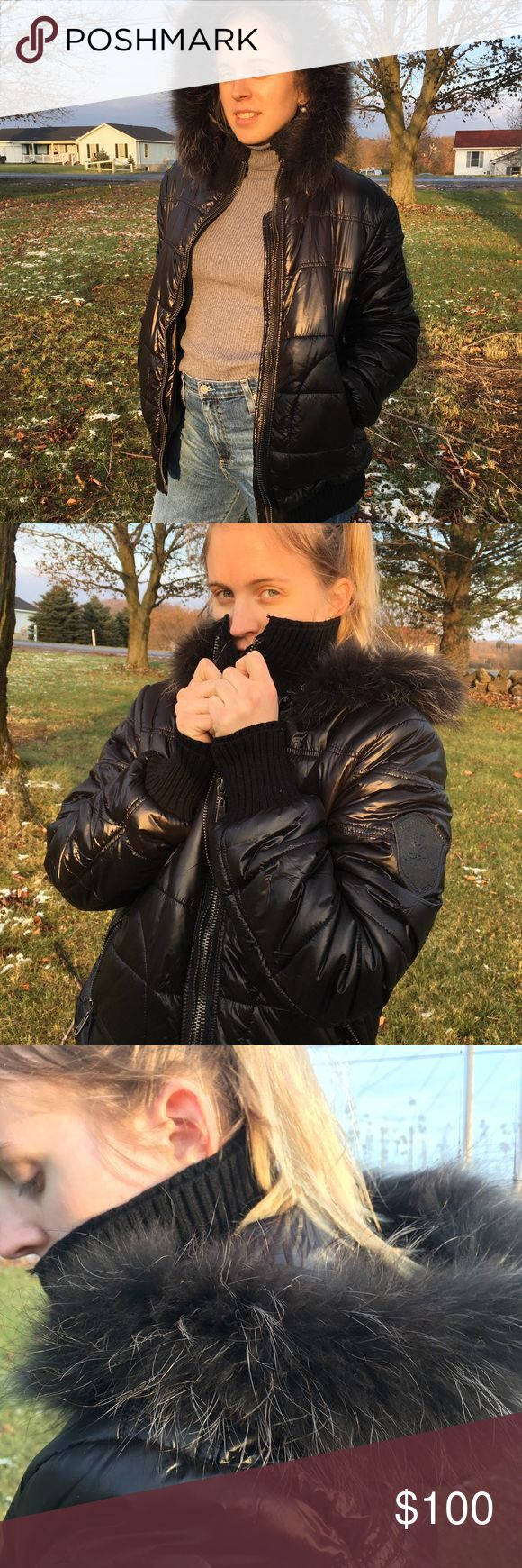 Fur Trim Black Down Puffer Coat Beautiful comfy, cozy and stylish puffer coat for cold winter months. Genuine Fur hood to keep you warm. New with Tags  Size medium Giuseppe Tucci Jackets & Coats Puffers