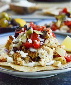 Marinated Greek Chicken Tostadas I howsweeteats.com