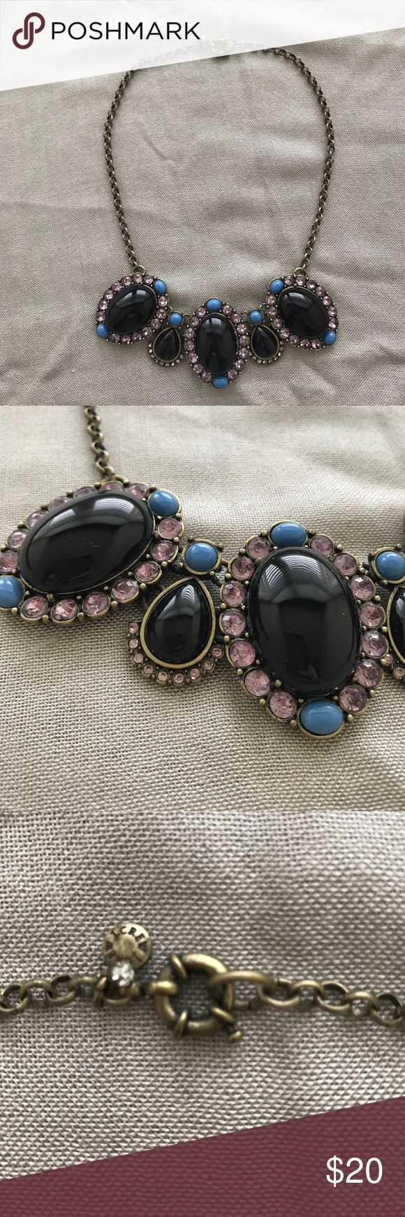 """J Crew necklace J Crew statement necklace with a design made of black enamel ovals surrounded by blue enamel and lavender rhinestones. 18"""" overall length J. Crew Jewelry Necklaces"""