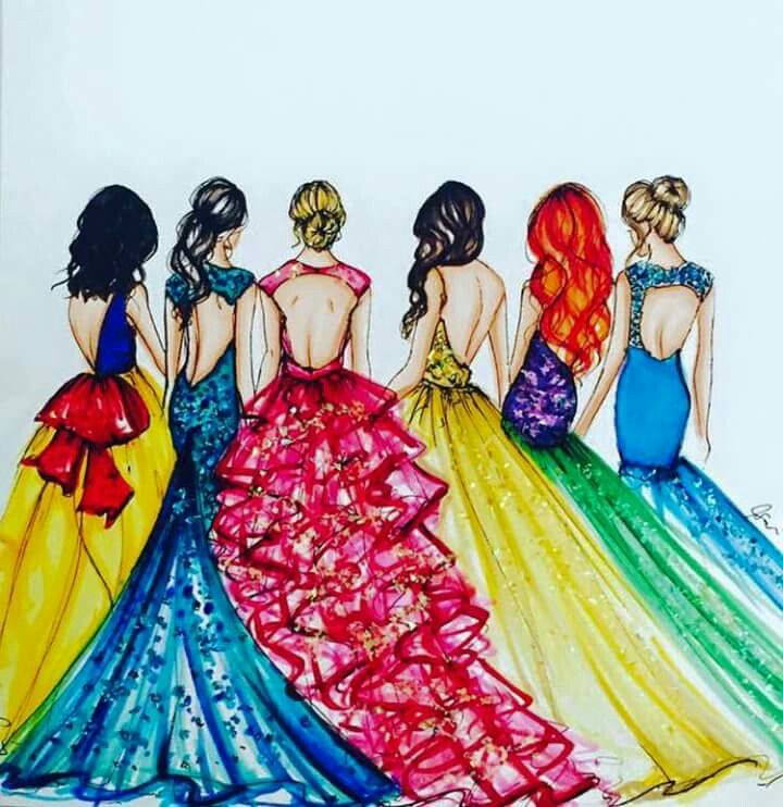 Snow white, Aurora, Ariel and other disney princesses with prom dresses =