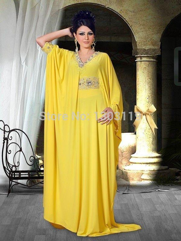 Aliexpress.com: Babyonline Alice Bridal üzerinde Güvenilir cüppe tedarikçilerden sıcak satış sarı uzun kollu ağır boncuklu kemer uzun gece elbisesi zarif 2014 Abiye dubai yüksek kalite Satın Alın