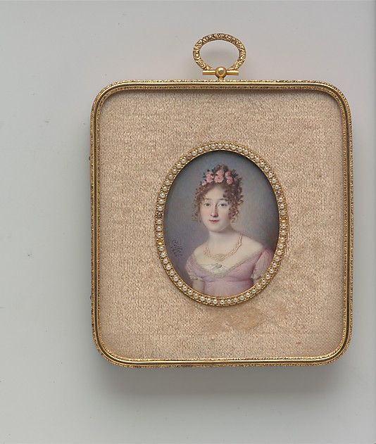 "Portrait of a Lady (ca. 1816, Louis Antione Collas, Watercolor on ivory in bezel with seed pearls, 2 3/4"" x 2 3/16"" MET)"