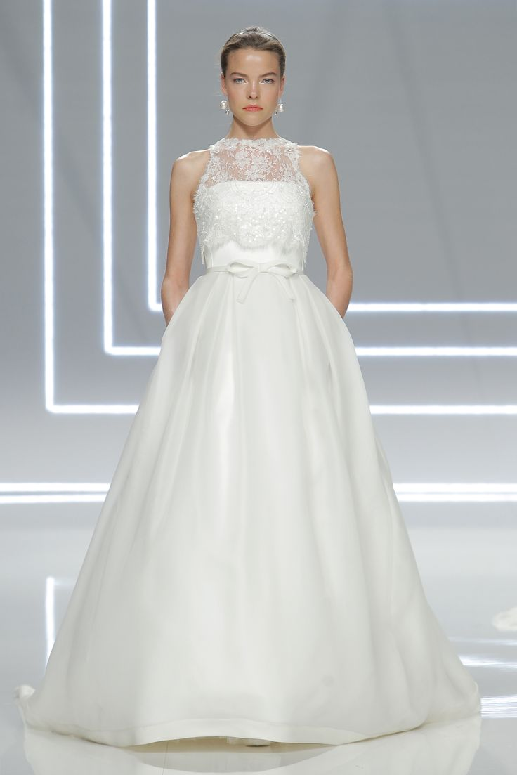 Awesome Rosa Clar strapless ball gown wedding dress with high neck sheer lace bodice overlay