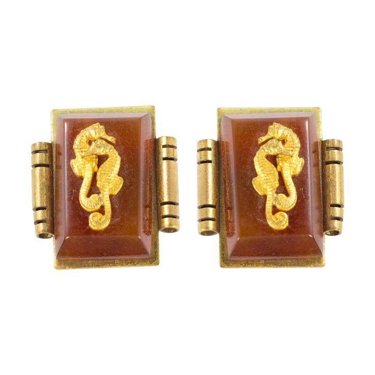 Jean Painleve Vintage Bakelite, Gilded Brass Seahorse Clip On Earrings c. 1930