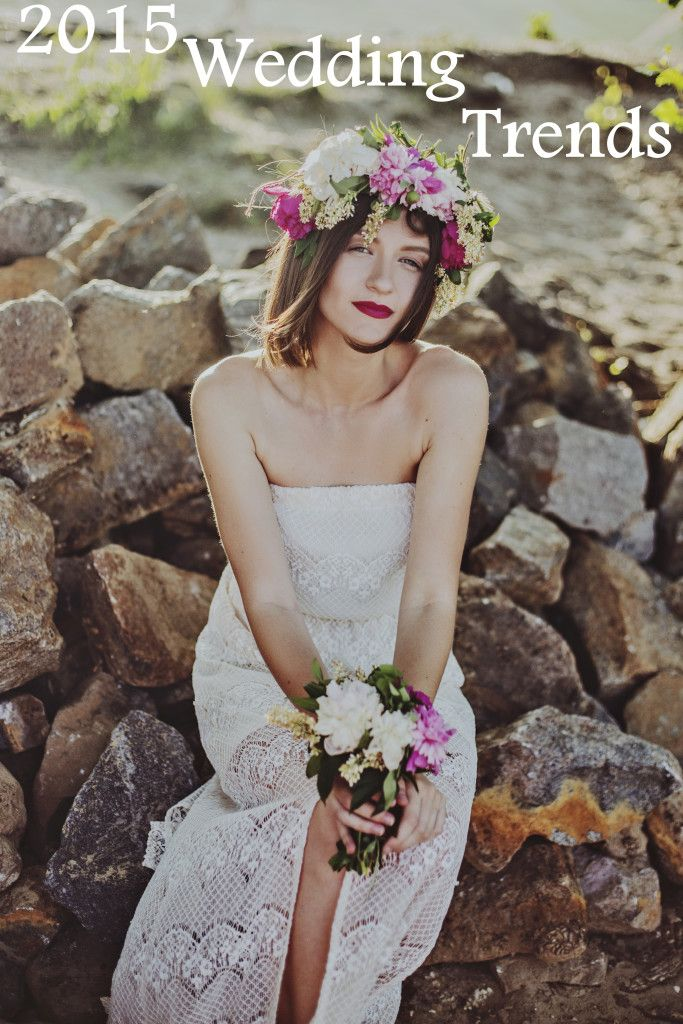 2015 Wedding Trends. colored suits, foliage and floral garland and wreaths, glamorous formal  bridesmaids dresses, industrial chic urban wedding style, colored bridal wedding dresses, statement wedding gown sleeves, copper