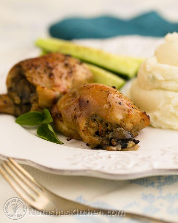 Baked Mushroom Stuffed Chicken Thighs | Natasha's Kitchen | Bloglovin'