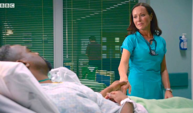 Casualty (30/5) Connie drops her guard when Jacob gets injured.