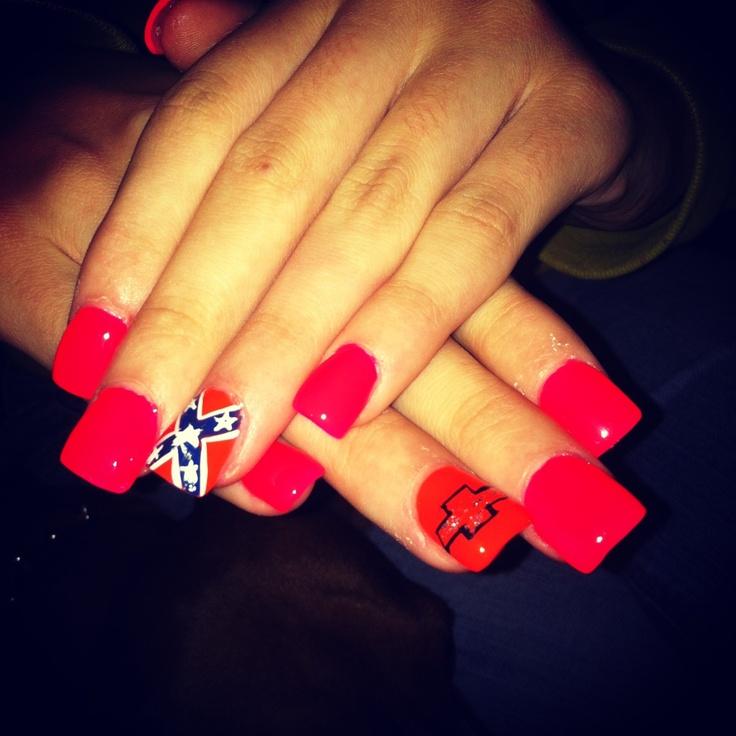 Country Girl Nail Art: New Nails .... Chevy & Rebel Flag