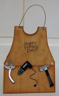 handmade Father's Day card ... design to look like a leather carpenter's apron ... faux stitching ...  tools with metallic papers hanging from the pocket ... luv the attention to detail ...