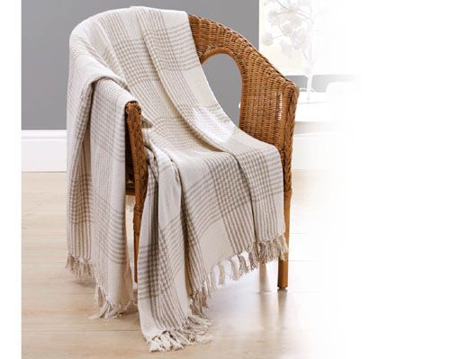 Natural Plaid Check Throw. Follow the link for further details/to purchase. http://www.klife.co.uk/distributors/91293/Eve-Ellwood?returnUrl=/klifeshop/home/soft-furnishing/natural-plaid-check-throw/ #HomeDecoration #InteriorDesign