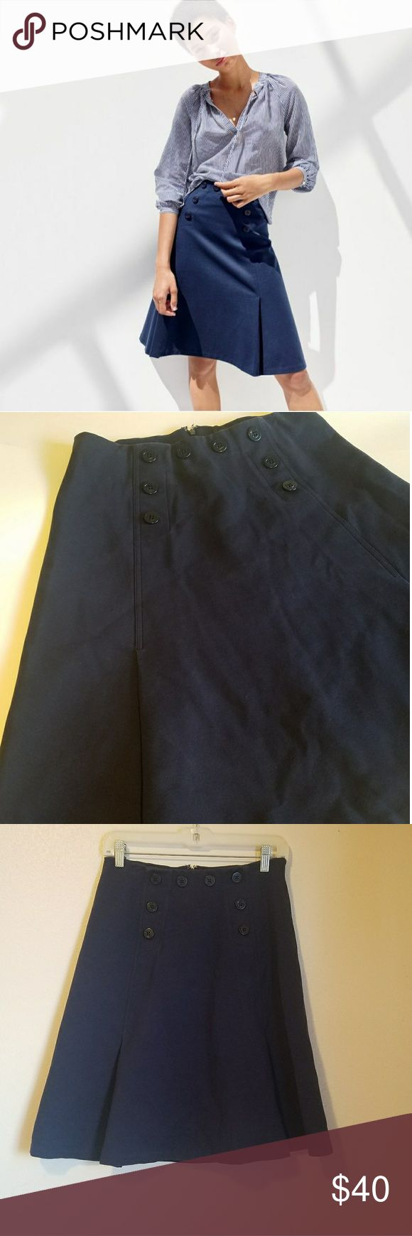 J. Crew size 6 navy blue nautical skirt Knee length, adorable J. Crew skirt in excellent condition.   Nautical style with anchor buttons.   Navy blue with a slight pleated style , womens size 6. J. Crew Skirts