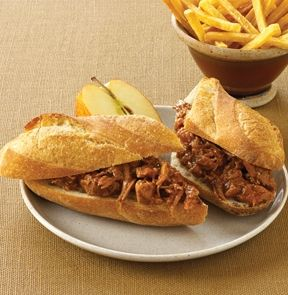 PULLED PORK. We've slow cooked tender pork shoulder strips in a delectable chipotle pepper barbecue sauce to create this oh-so-tender dish. Fully cooked – simply heat 'n serve on a Petite Baguette.    - M & M Meat Shops