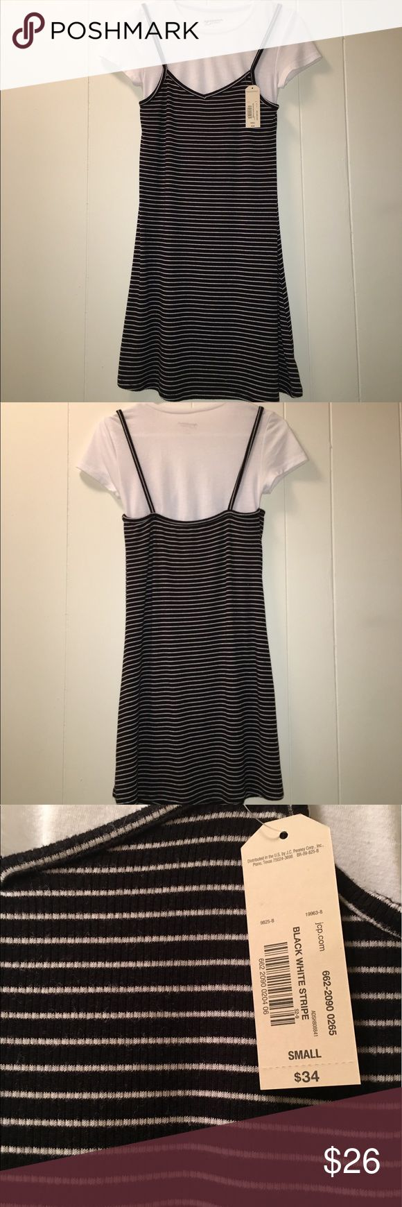 $34 JCPenney Black and White Rubber dress Small New with tag, so soft jcpenney Dresses Midi