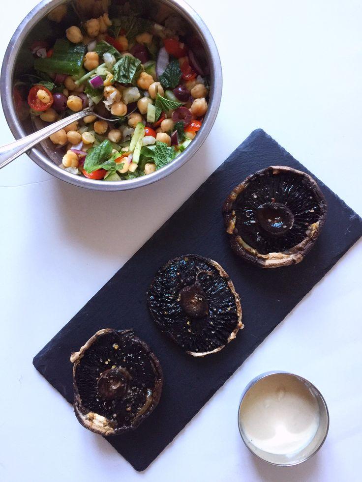 {Vegan} Mediterranean Stuffed Portobello Mushrooms | Whisk and Shout