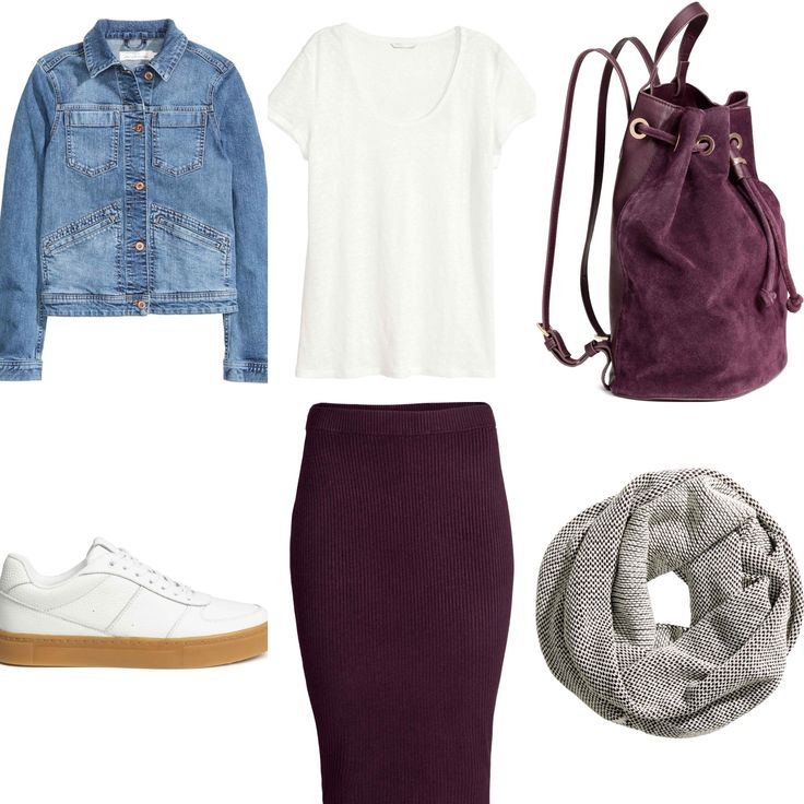 Purple pencil skirt outfit from 2016 H&M fall collection. Denim jacket, white sneakers, grey tube scarf, white t-shirt. Purple bag backbag.