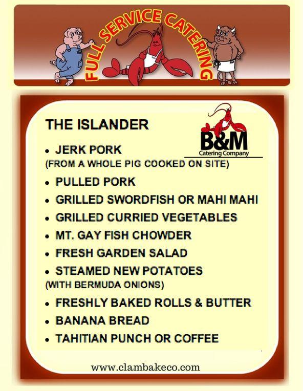 The Islander Menu By BM Catering Jerk Pork Pulled Grilled Swordfish Or