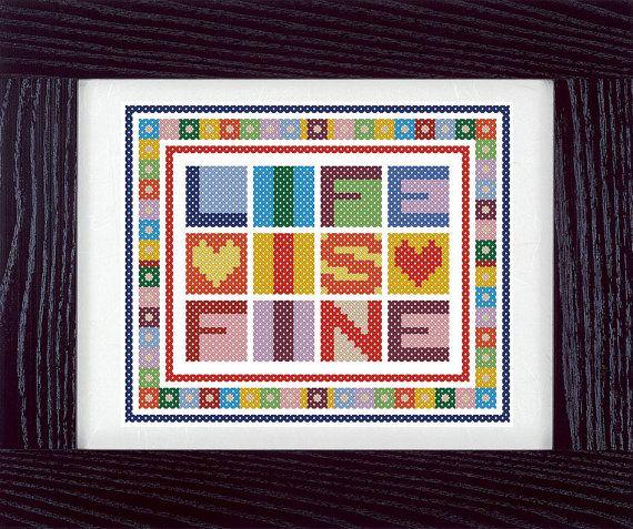PDF. Life Is Fine. Cross stitch pattern modern by SecretFriends